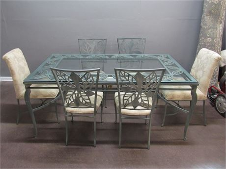 Wrought Iron Dining Table with Glass Top and 6 Chairs