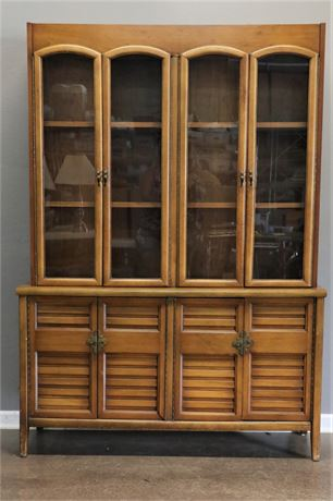Vintage Solid Wood Kitchen Hutch with double glass doors