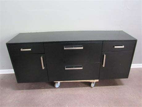 Large Black Laminate Office File Cabinet - 2 Lateral File Drawers