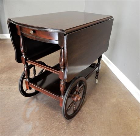 Vintage Wood Drop Leaf Tea Cart