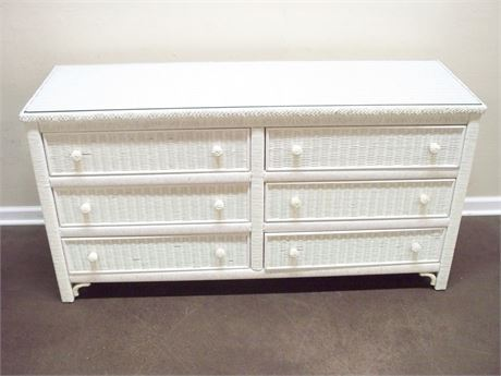 WHITE WICKER DRESSER WITH PROTECTIVE GLASS TOP