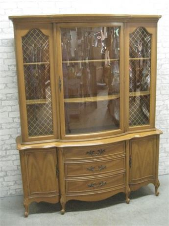 VINTAGE SERPENTINE FRONT CHINA HUTCH
