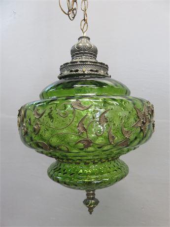 Vintage Mid-Century Glass Pendant Swag Light