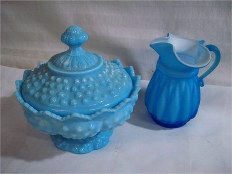 2 PIECE VINTAGE BLUE GLASS LOT INCLUDING HOBNAIL COVERED FOOTED DISH