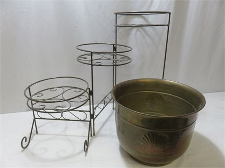 3-Tier Metal Plant Stand & Brass Planter