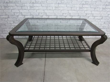 Heavy Metal Bronze Tone Finished Coffee Table with Beveled Glass Top