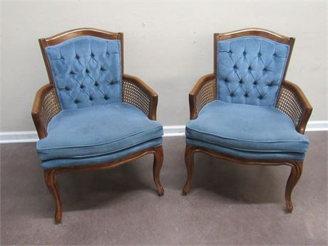 2 BLUE VELVET OCCASIONAL/SIDE CHAIRS WITH WICKER SIDES