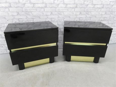 Contemporary Black Lacquer Nightstands