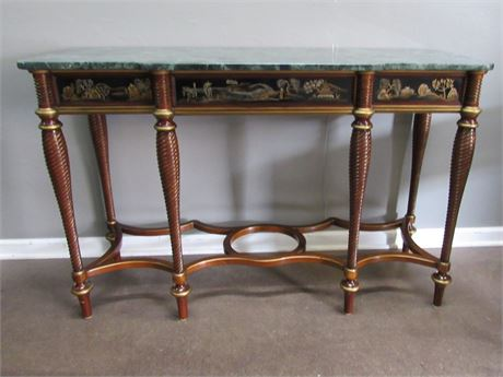 Great Looking Oriental/Asian Style Sofa/Console Table with Marble Top