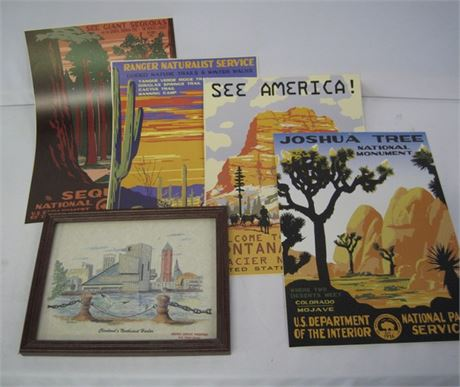 5 PIECE LOT 4 NATIONAL PARK POSTERS & A FRAMED CLEVELAND NORTHCOAST HARBOR PRINT