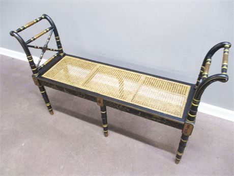 CANED ASIAN-STYLE BENCH