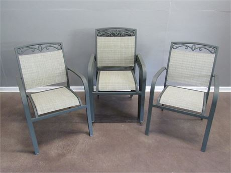 6 Metal Stacking Outdoor/Patio Chairs with Mesh Fabric