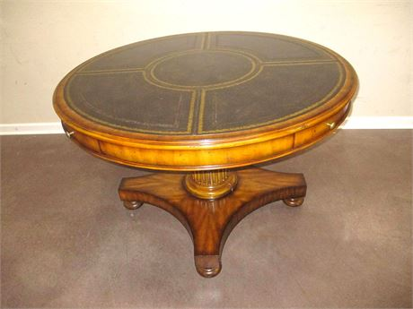 LEATHER-TOPPED GAME TABLE BY MAITLAND-SMITH