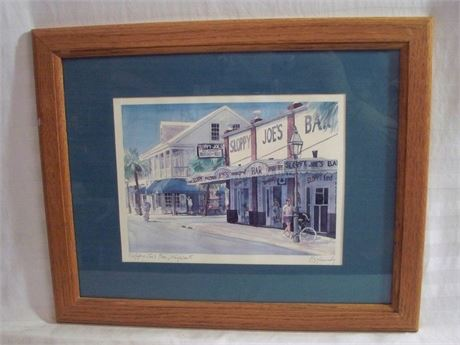 FRAMED AND MATTED PRINT - SLOPPY JOE'S BAR - ROBERT KENNEDY
