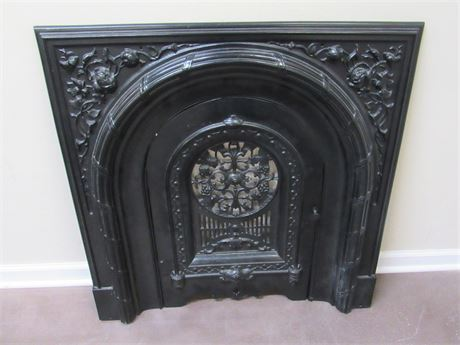 CAST IRON FIREPLACE SURROUND WITH SUMMER DOOR