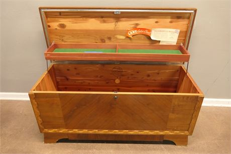 Lane Cedar Chest with key and a push button lock.