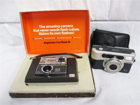 LOT OF 2 VINTAGE CAMERAS FEATURING KEYSTONE AND KONICA