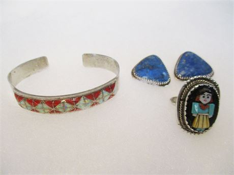 LOT OF VINTAGE TURQUOISE/STERLING JEWELRY FEAT. RICHARD BEGAY & J.CALAVAZA