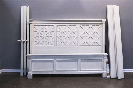 White Headboard and Foot board in Block Design, with rails and support
