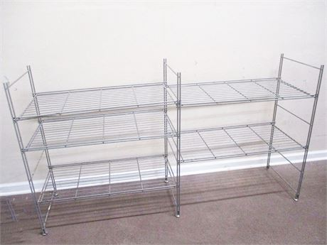 LOT OF 2 GREY WIRE SHELVING UNITS