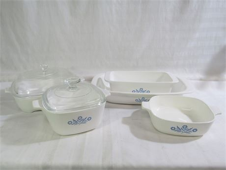 7 PIECE CORNING WARE COOKWARE LOT INCLUDING BLUE CORNFLOWER