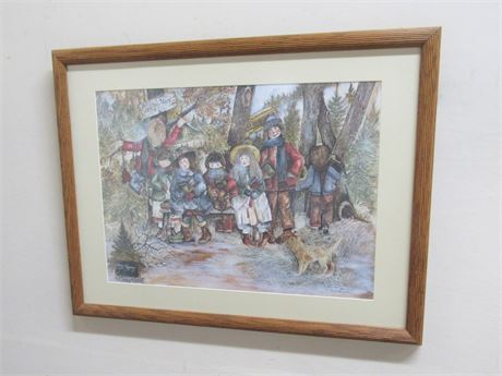 FRAMED MATTED & NUMBERED (#71/1200) PRINT - COUNTRY BUS STOP BY THEREASA RAMSEY
