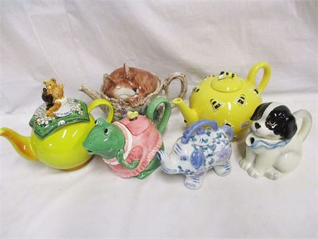 LOT OF 6 WHIMSICAL TEAPOTS