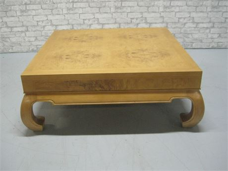 LARGE ASIAN MOTIF BURL WOOD FINISHED COFFEE TABLE