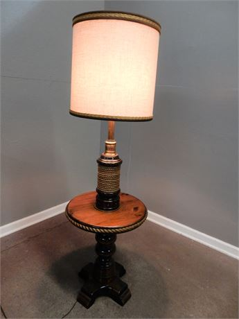 Vintage Wood and Nautical Rope Design Lamp Table