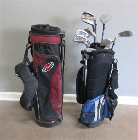 2 Kids Golf Bags with 12 Misc. Clubs