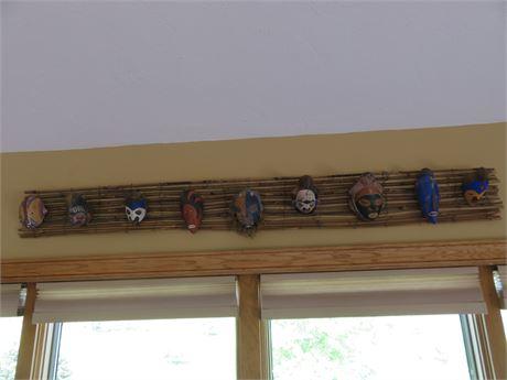 Decorative Wooden Tribal Mask Wall Display