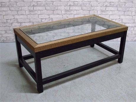 Nice Wicker Style and Glass Top Coffee Table