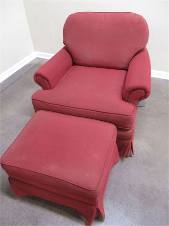 CRANBERRY ARM CHAIR AND OTTOMAN