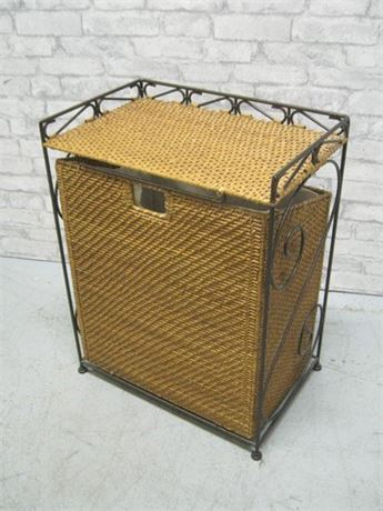 WROUGHT IRON AND WICKER HAMPER