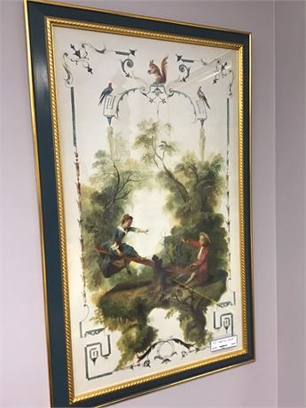 French Art Couple On A Seasaw 1 of A Pair A