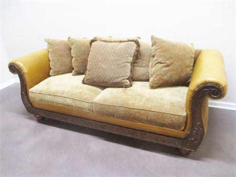 LEATHER AND UPHOLSTERED LOVESEAT FROM Z GALLERIE