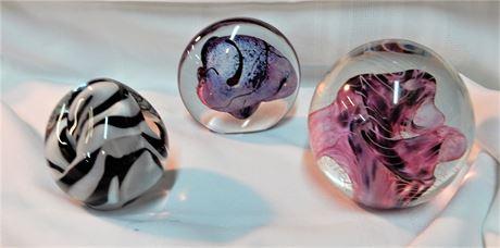 Signed Robert Eickholt Art Glass Large Paperweights