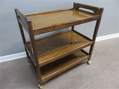3-Tier Wooden Serving Cart