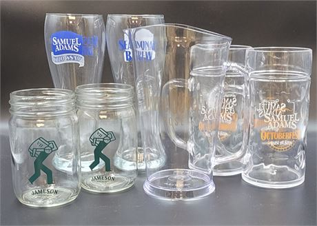 Various Alcohol Beer Glasses, Jars, and Mugs