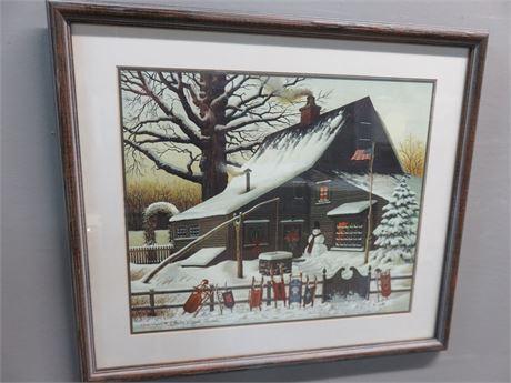 CHARLES WYSOCKI Festive Holiday Home Lithograph