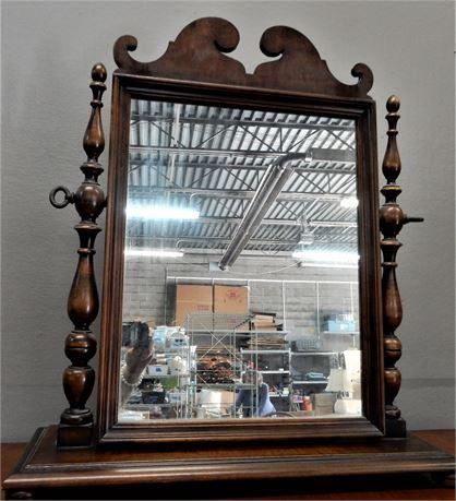 Vintage Wood Tabletop Tilting Dressing Mirror