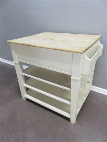 Butcher Block Kitchen Island with Slide-Out Table