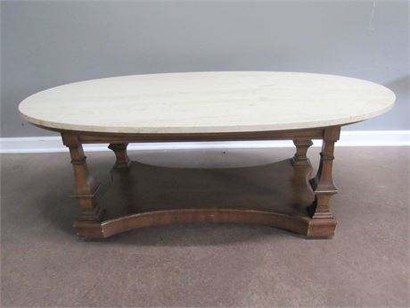 Vintage Marble Topped Oval Coffee Table on Casters