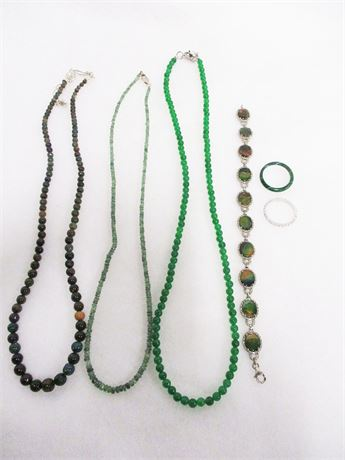 LOT OF SEMI-PRECIOUS NECKLACES WITH RINGS