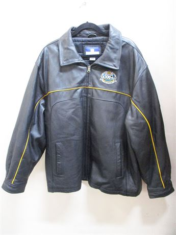 LEATHER SIZE MEN'S XL SUPER BOWL XXXVII BOMBER JACKET