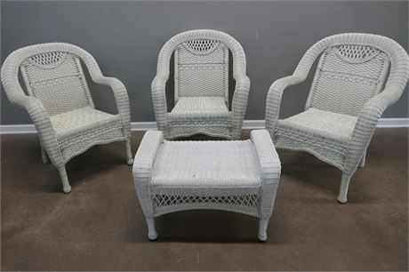 White Wicker Chairs and Ottoman (or Bench)