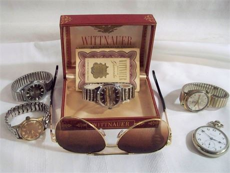 6 PIECE VINTAGE LOT - 4 WATCHES, POCKET WATCH AND GUCCI SUN GLASSES