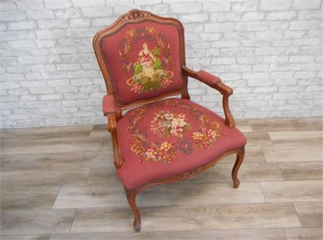 VINTAGE NEEDLEPOINT SIDE ARM CHAIR WITH CABRIOLE LEGS
