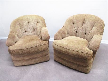 LOT OF 2 UPHOLSTERED HARDEN SWIVEL CHAIRS