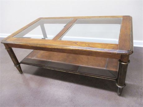 COFFEE TABLE WITH GLASS INLAY AND LEATHER SHELF